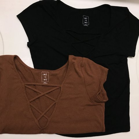 fed2bbeb @bellaloffredo. 3 months ago. Whitewater, United States. Two Pacsun Me To We  crisscross tops. Black and brown both size ...