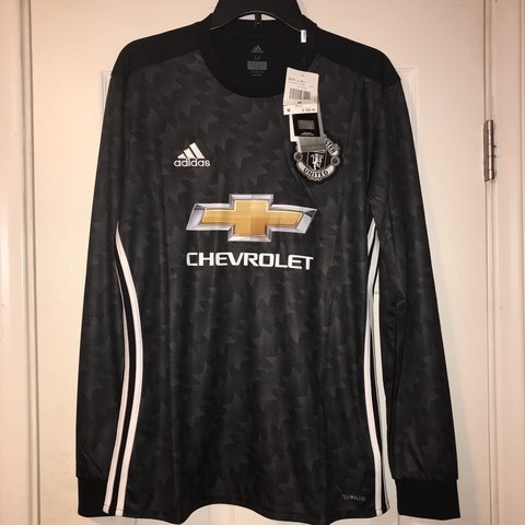 7408a8c95 Adidas Manchester United Soccer Jersey NWT Size M Long away - Depop