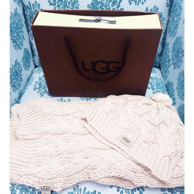 e13282579f21f UGG Australia hat and scarf set with box. Cream and made of - Depop