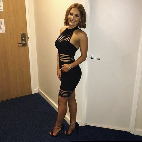 04d4255930 House of CB Sianna black halter bandage dress. Bought for on - Depop