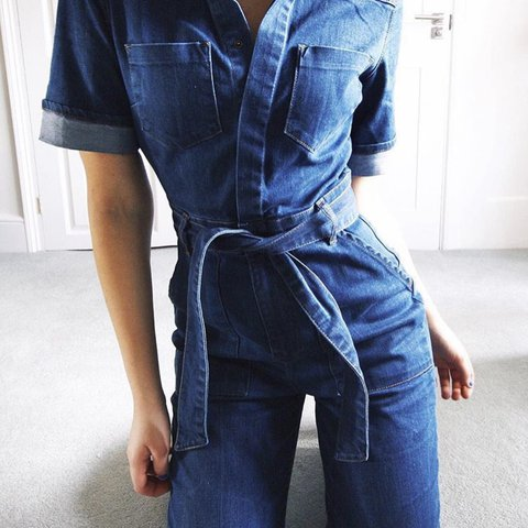 231152d560 Asos Denim flared jumpsuit with tie waist included. Worn and - Depop