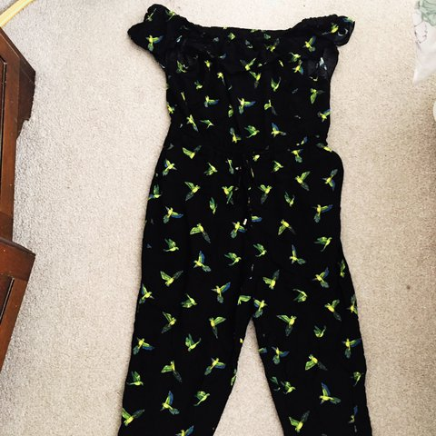 e7cfb1b22e1f Bird print off the shoulder jumpsuit. Size 12 from Oasis. a - Depop