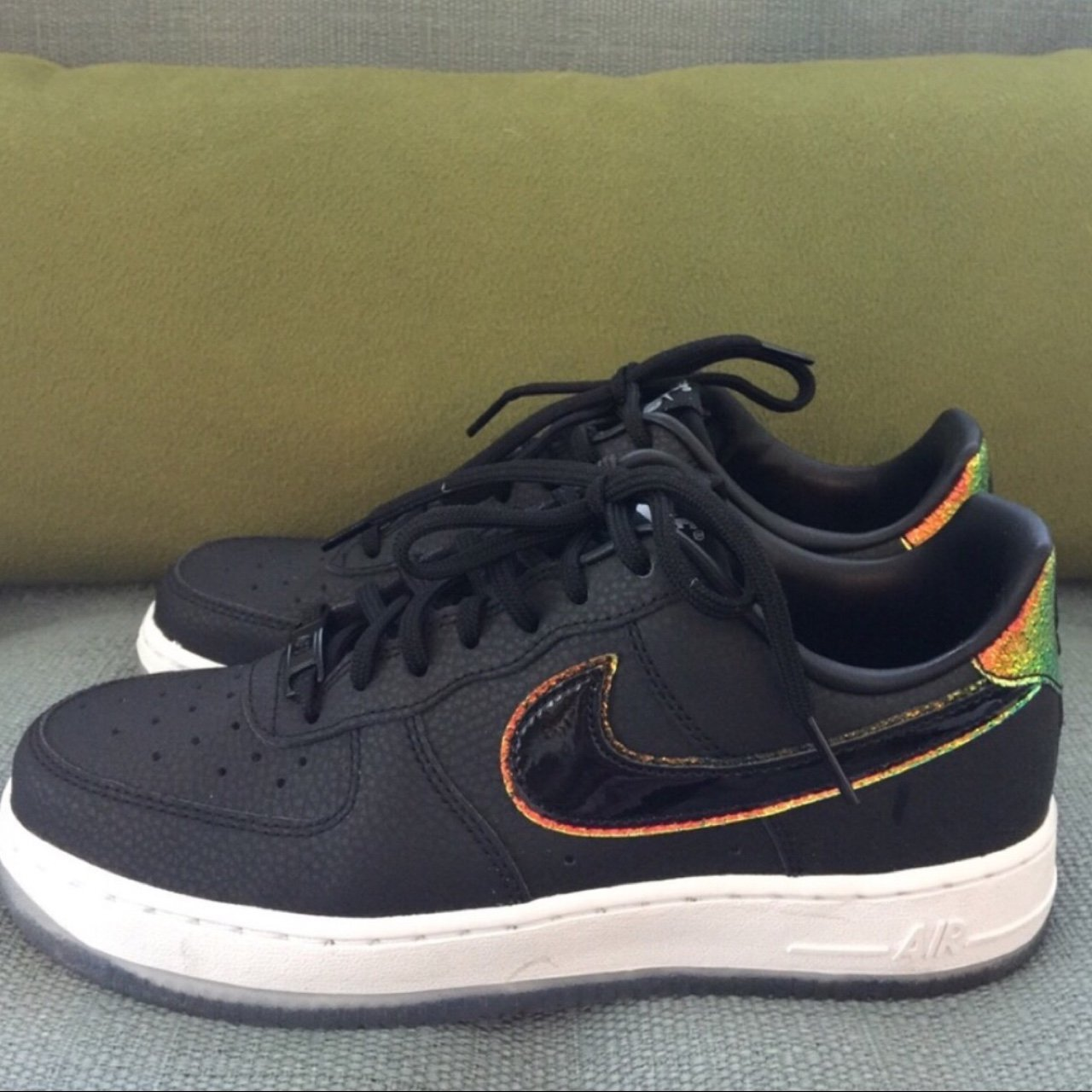 2be973d000ac Nike Air Force 1. Rare from 2007. Black with rainbow size 7. - Depop