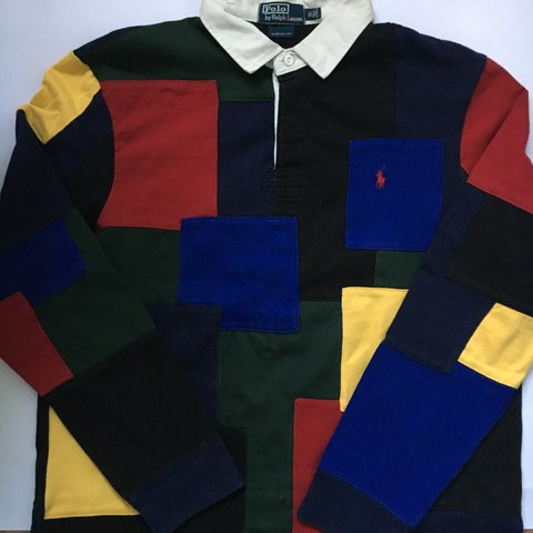 32b0b8d9670 @sethhw99. 2 years ago. Maidenhead, United Kingdom. 🔥🔥🔥vintage Ralph  Lauren multi coloured patch work polo rugby shirt ...