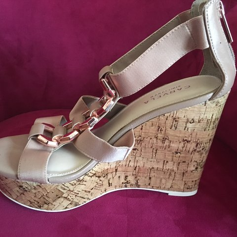 08f3cd9dec Carvela Ladies Keira Nude Fabric Summer Wedge Shoes in box - - Depop
