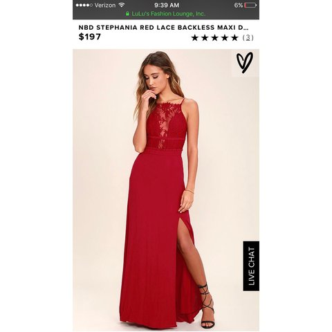 e5423d5e941 Brand New with Tags NBD Red Lace Backless Maxi Dress
