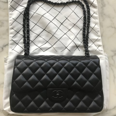 f80d5eb313ef67 Chanel So Black Jumbo Classic Flap in Lambskin Limited In no - Depop