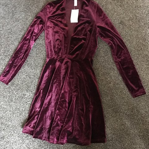7be8ee5342 American Apparel velvet long sleeve Deep V skater dress NEW - Depop