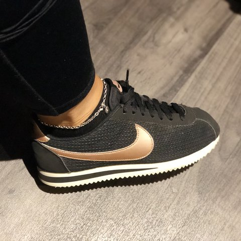 318075f27eda ... greece nike cortez black rose gold and white so gorgeous depop ae3f6  84a60