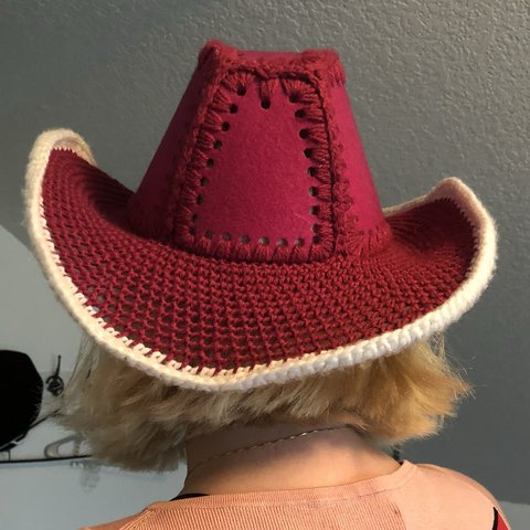 Pink Crochet And Wire Cowboy Hat Very Stable Hat That Depop