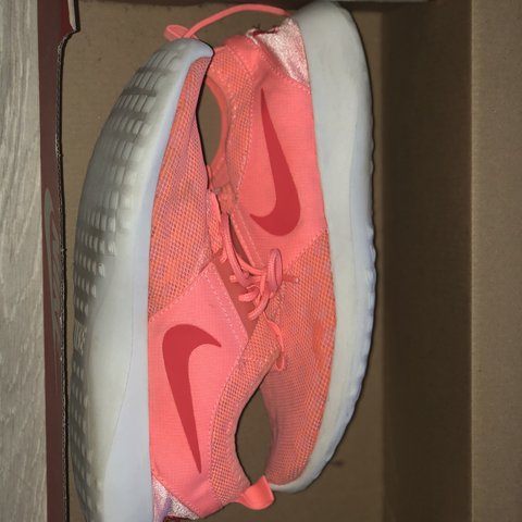 affca8d374d5 Neon coral Roshe run Nike trainers. Good condition over all
