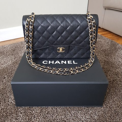 8779cba5911c08 CHANEL JUMBO FLAP BAG BLACK CAVIAR LEATHER WITH GOLD FROM / - Depop