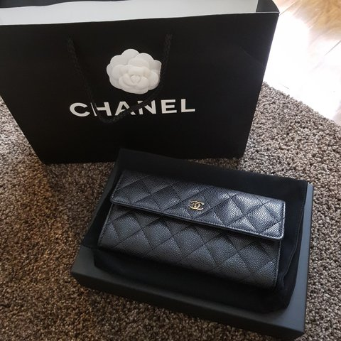 fbb6af4da106 @preeti5. last year. Birmingham, UK. CHANEL FLAP WALLET. BLACK CAVIAR  LEATHER WITH GOLD HARDWARE.