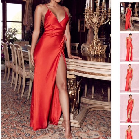 235500257cc Red Satin Wrap Maxi Audreyana Dress XS from House of CB RRP - Depop