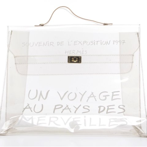 f02dc01bfff1 Hermes Clear Souvenir D  Exposition Kelly Bag - clear vinyl - Depop