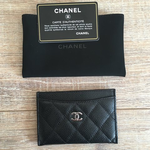 462ce3f3e8cd CHANEL CLASSIC CARD HOLDER IN BLACK CAVIAR LEATHER     WITH - Depop