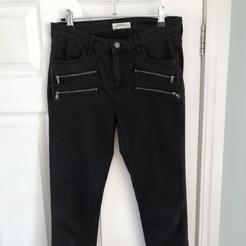Black Zara jeans size EU38 Silver zips at ankle and Depop