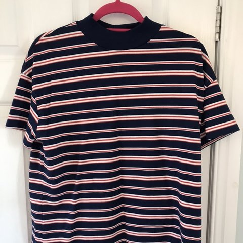 Zara blue and red striped T shirt with high crew Depop