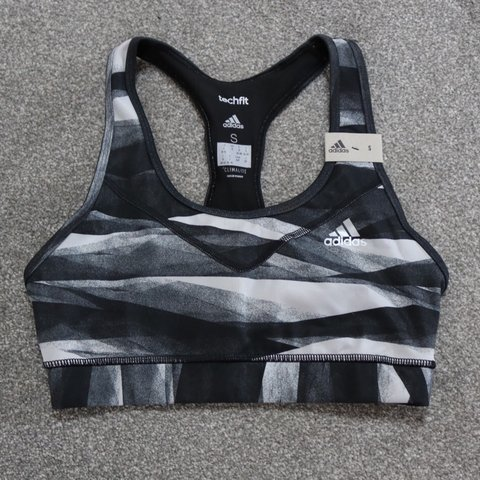 d0cb7346a508e Adidas sports bra. Never worn. With tags. Black and grey 10 - Depop
