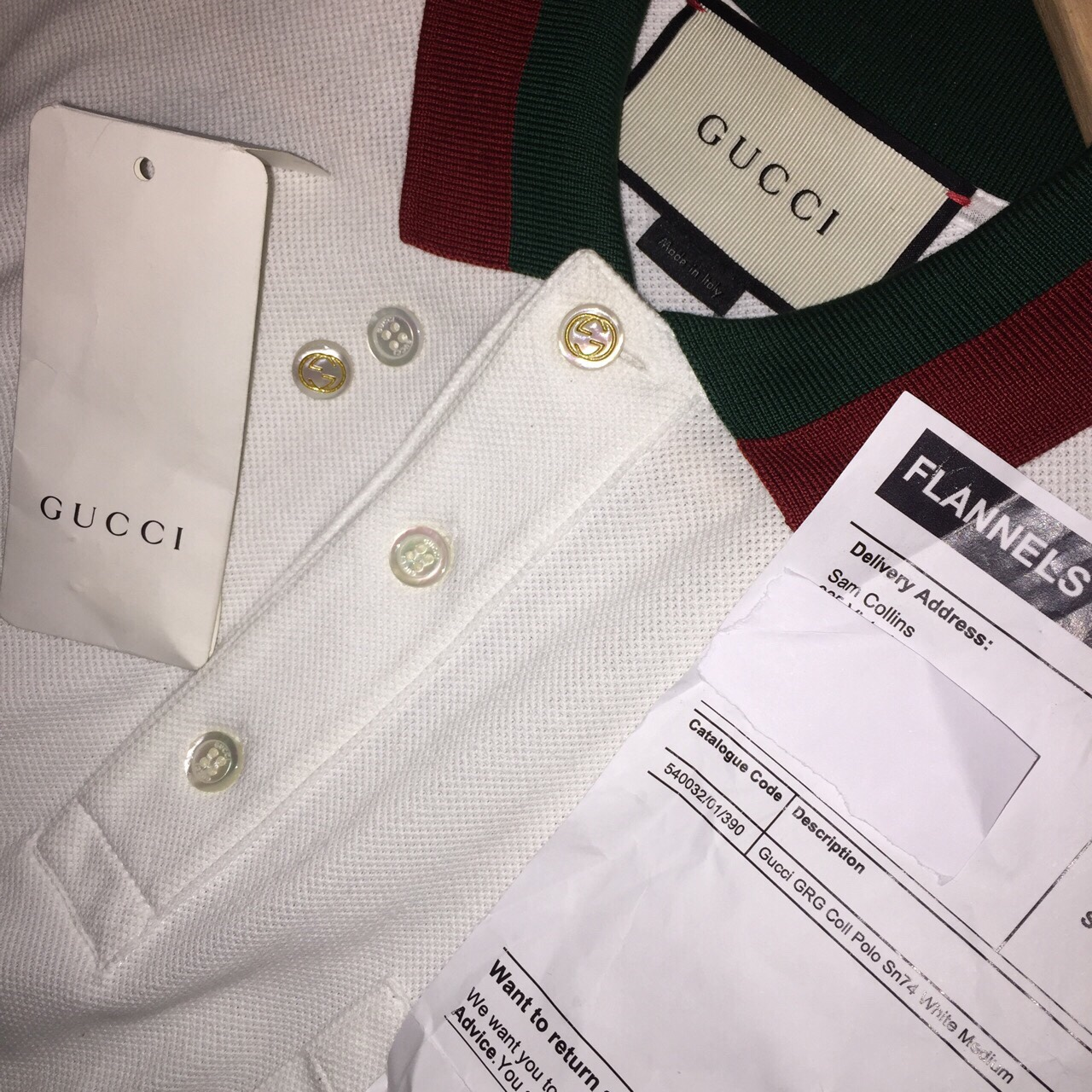 f96d44cca @samcollins2wavey. last year. Manchester, UK. Gucci White Polo Shirt with  green and red web collar.