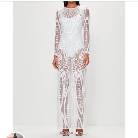 44e90664457 Peace and Love Missguided white lace jumpsuit. Never worn. - Depop