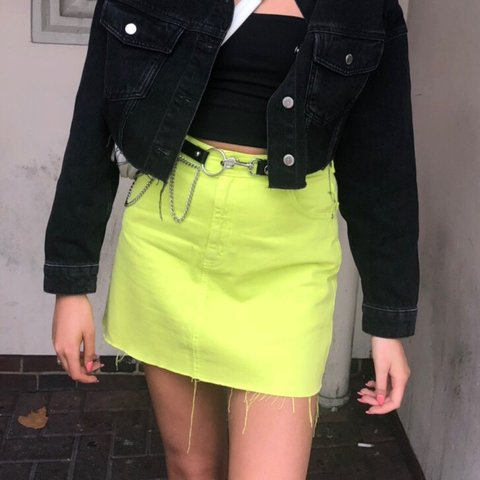 b672e5bcb6 @lauren_bleach. 3 months ago. Coventry, United Kingdom. Topshop size 10  neon green denim skirt ...