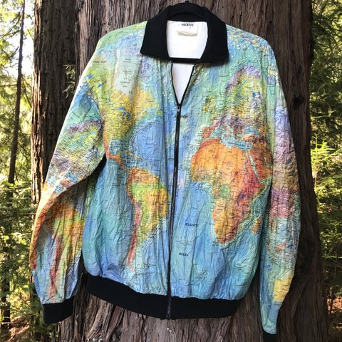 GORGEOUS all-over world map print bomber jacket. Made of Tag - Depop