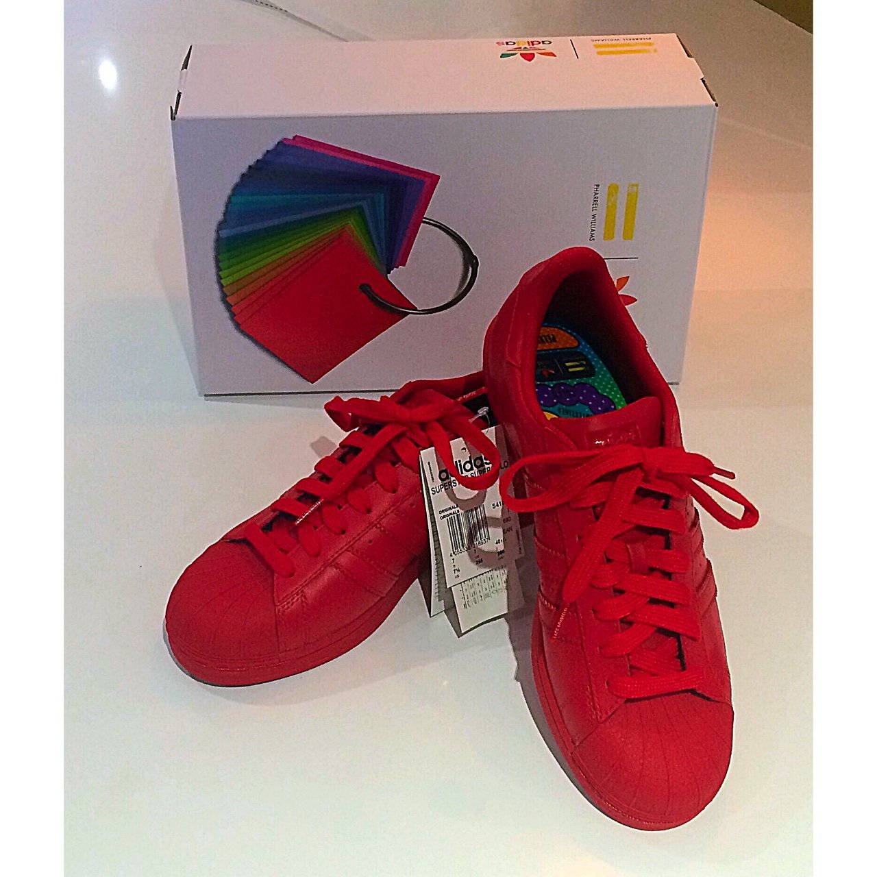 60ea71ff2029b Brand new in box! Red Adidas super colour superstar trainers - Depop