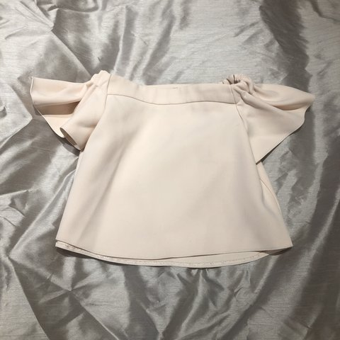 8e3d2ee6cceaf7 Baby pink   peach coloured Bardot off the shoulder top from - Depop