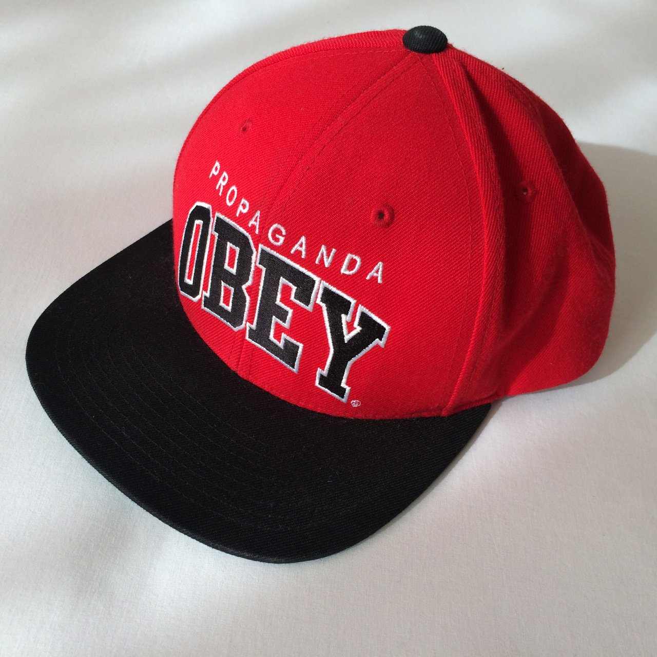 11b9328f2a3 Obey Propaganda Embroidered Wool Acrylic Snapback Hat. IN a - Depop