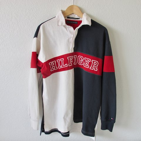 5f1657b6c @deanz74. last year. Fontana, United States. Vintage Tommy Hilfiger Flag  Colorway Long Sleeve Rugby Polo Shirt.