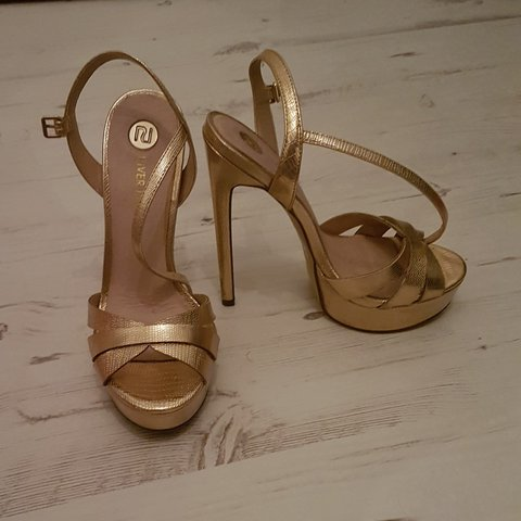 River island gold 6 inch heels. Size 4. Worn once but good - Depop