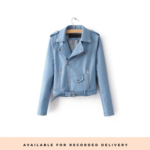 a3e20fcad Stunning baby blue biker jacket available for recorded - Depop