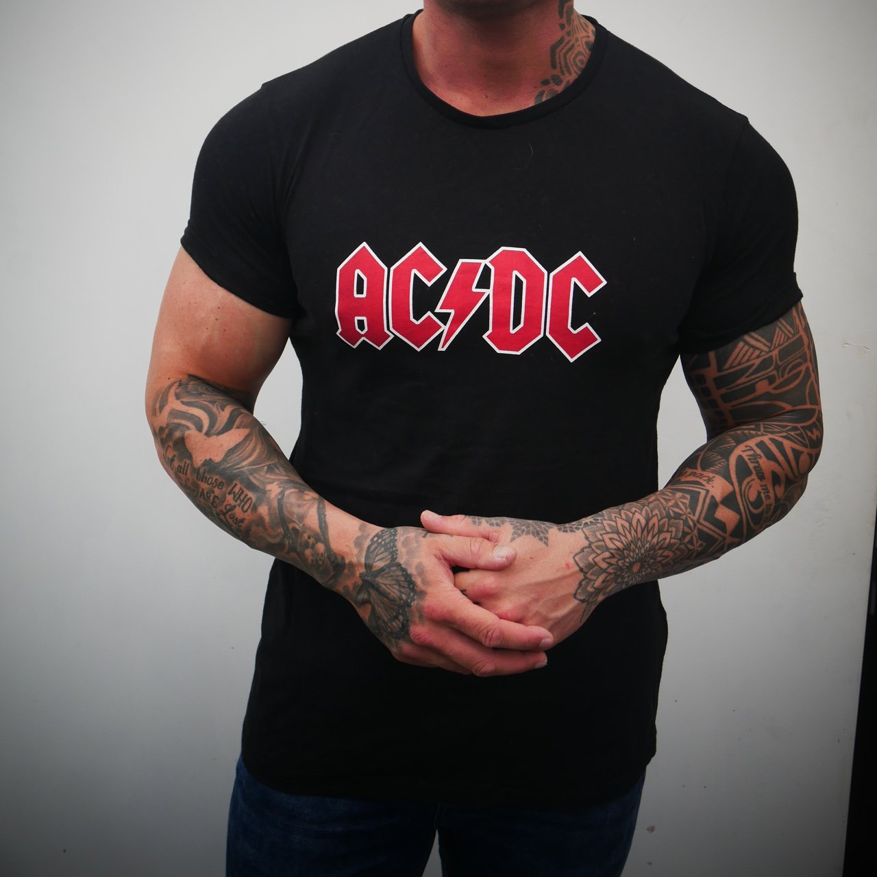 AC/DC black T Front and- 0