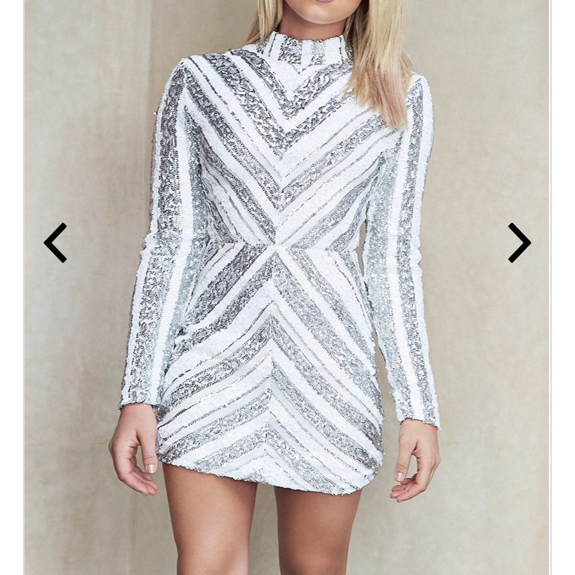 Quiz white and silver sequin dress by