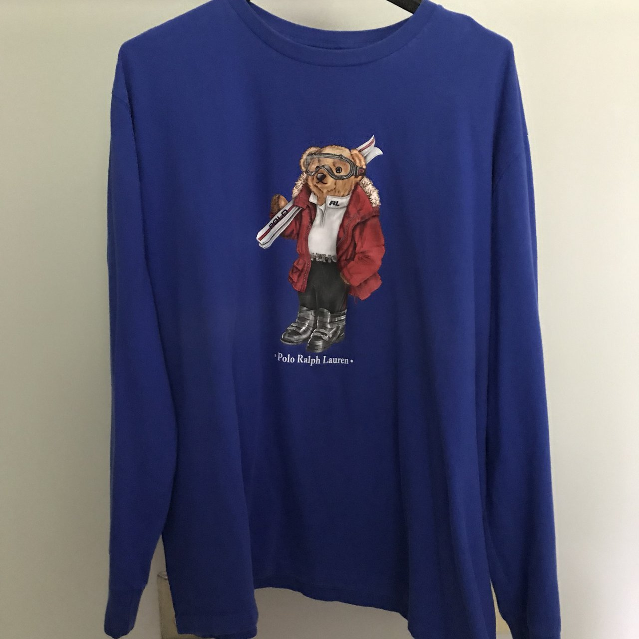 Blue Polo Ralph Lauren Teddy Bear Ski Long Sleeve T Xl Bear Depop