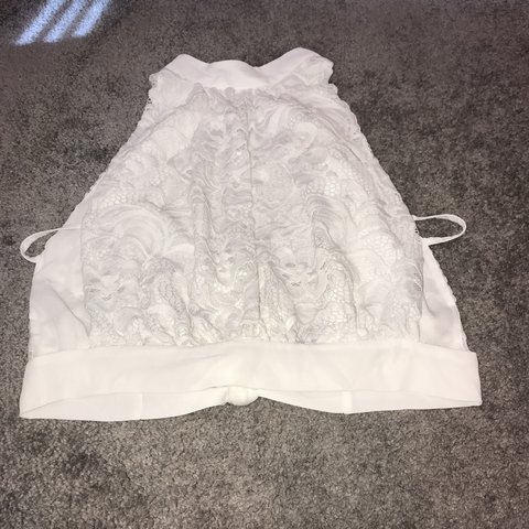 ffdb97d7c1e New Look white crop top. Cut out side and back ties with FOR - Depop