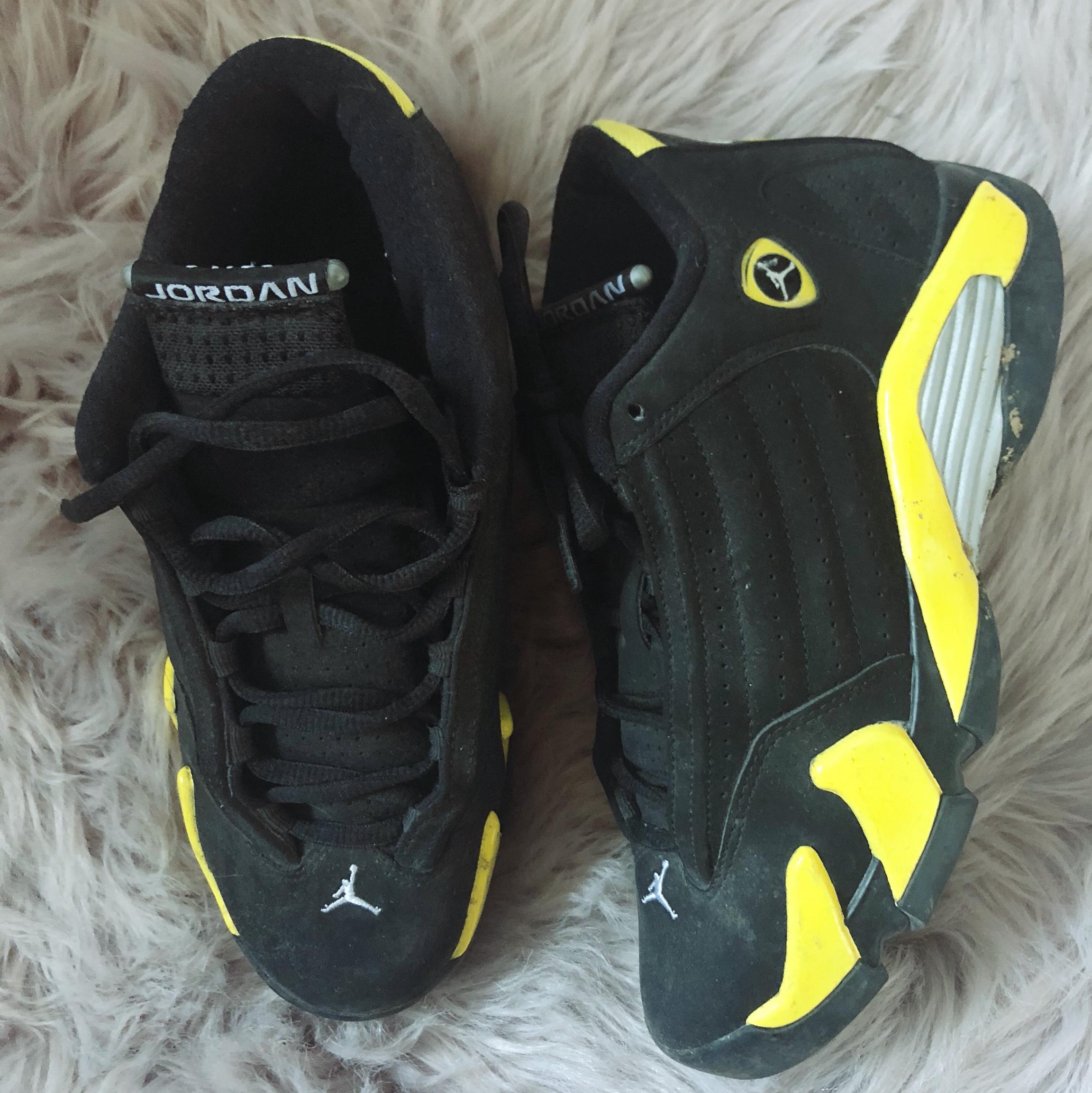 buy online 30844 bb2a2 Jordan retro 14 Thunder - Depop