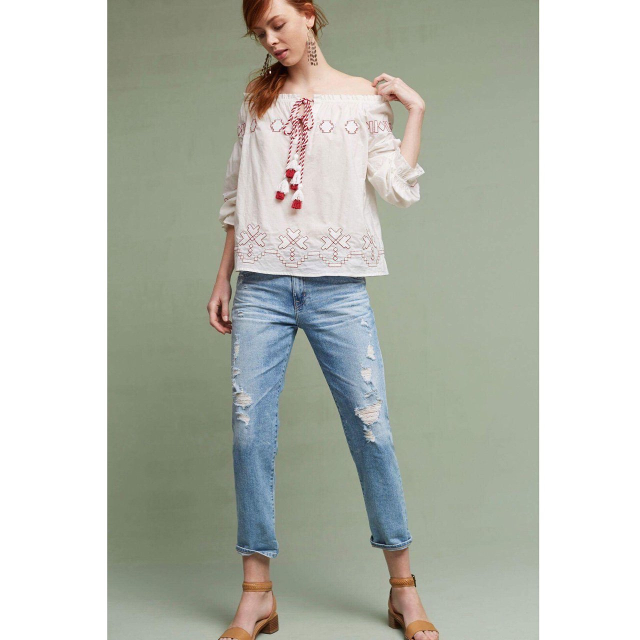 8c3f0831845 Embroidered Off-shoulder top from Anthropologie. The appeals - Depop