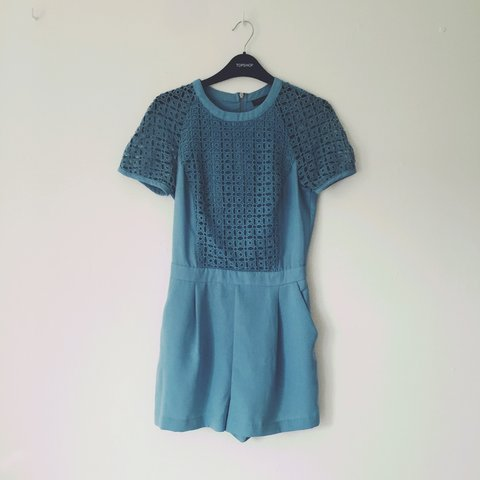 e486152a86 Topshop pale blue cut out pale blue tailored playsuit with 6 - Depop