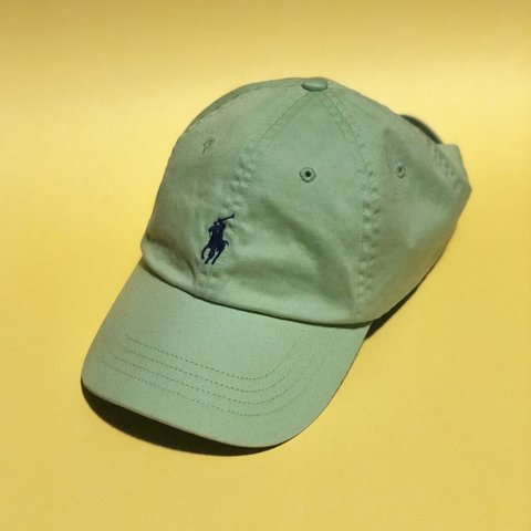 fdf21579be8 lime green polo strapback hat with navy embroidery never - Depop
