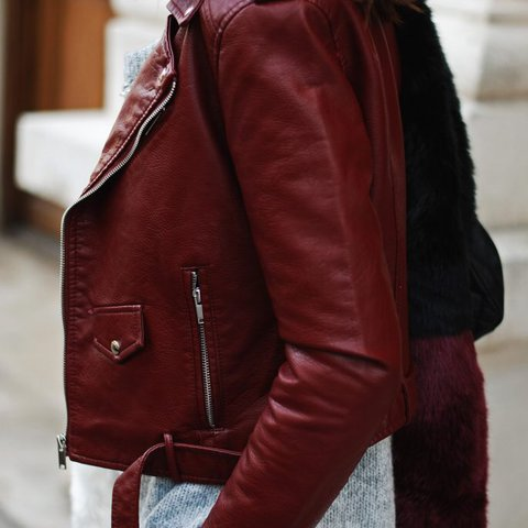 365da35730 @tairifik. last year. Rockville, United States. Zara burgundy biker jacket.