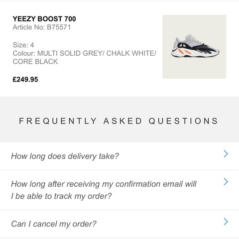 dc7923186a198 Adidas Yeezy Boost 700 Wave Runner X 2 UK 4 Purchased On   % - Depop