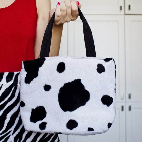 COW PRINT MINI TOTE BAG 🐄 - Soft structured black   white - Depop 84af0569456fd