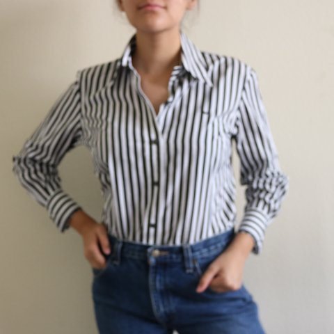 506b862479 collared B W vertical striped button down blouse. 100% this - Depop