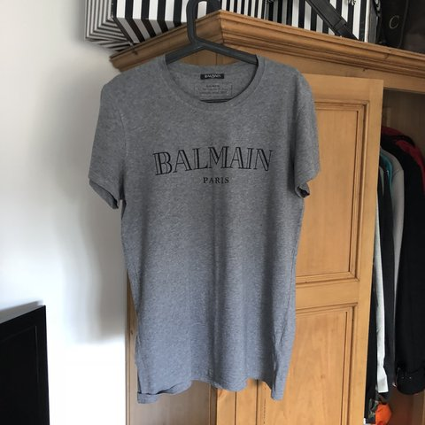ca91dd16 Balmain tee grey, worn once, 10/10 condition paid £185 from - Depop