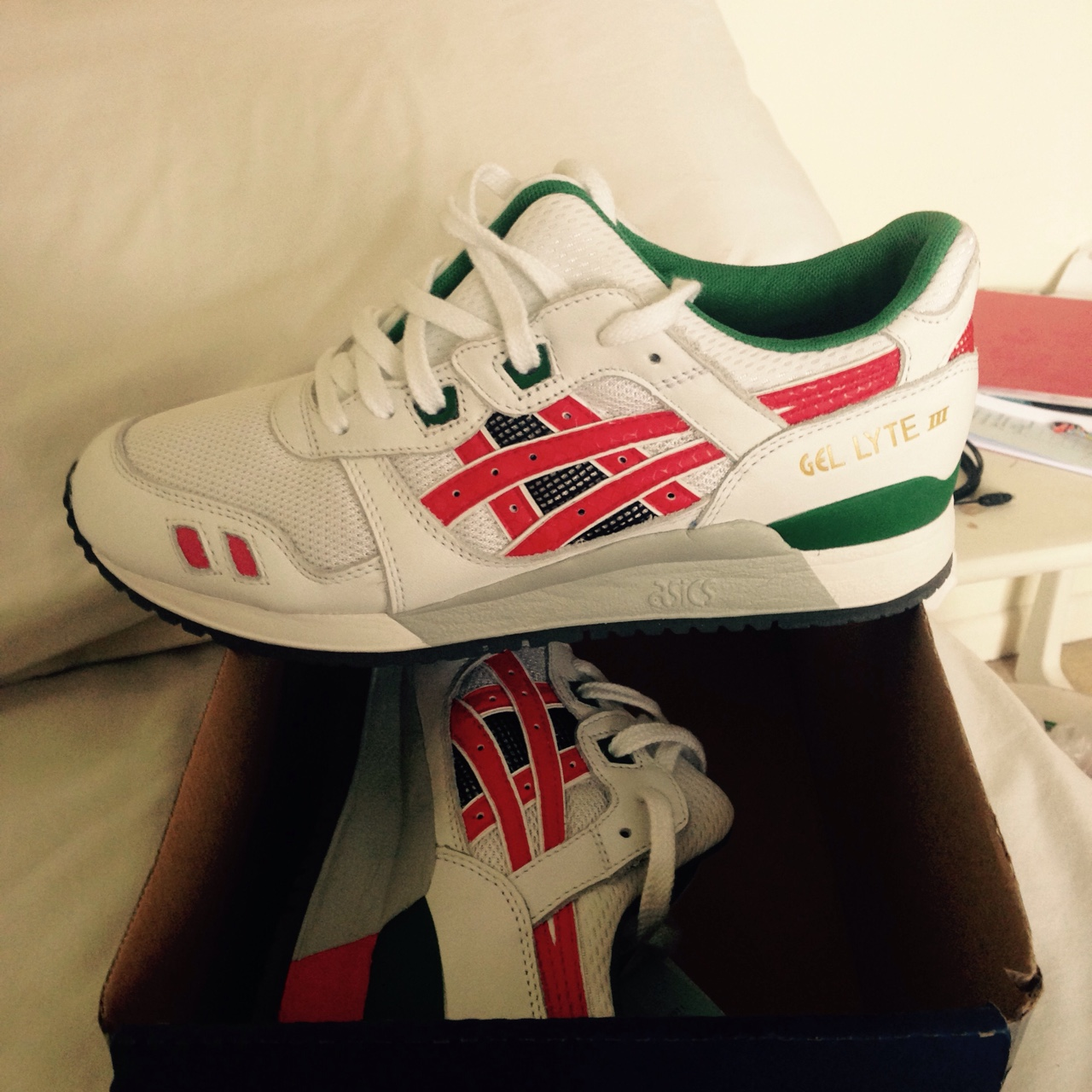 los angeles afd08 b7e2f White, Red and Green Asics Gel Lyte III. Brand New... - Depop