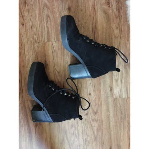 a378565dc3f Black faux suede lace up booties from Forever 21. A few old
