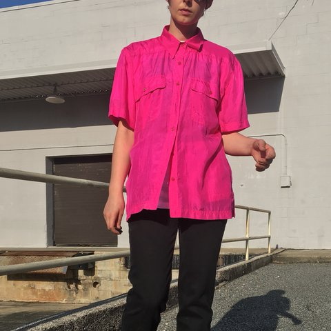 a76c02066f25e Vintage Hot Pink Silk Shirt By Silk Time