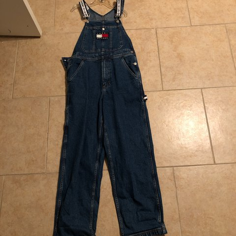 timeless design 100% quality quarantee free delivery Tommy Hilfiger denim overalls. Mens size small.... - Depop